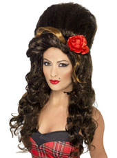 Rehab Wig. Brown, long with large beehive.