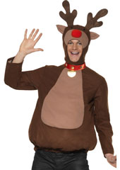 Reindeer Top & Hood with Antlers. Brown, with padded belly.