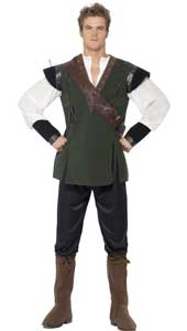 Robin Hood Costume, includes trousers, shirt, belt with arrow holder and boot covers.