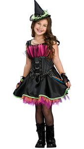 Black and purple, studs all around your conical hat, chains hanging from the bodice and more linking it all together, plus a skirt that looks like it's on fire. Wow These threads are heavy, this witch is rockin' Rockin Out Witch Costume, includes d