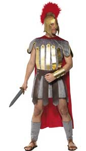 Roman Warrior Costume, includes tabard with cape, arm and leg cuffs and armour skirt. HEADPIECE NOT INCLUDED. SOLD SEPARATELY.