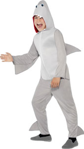 Child Shark Costume, includes all in one costume with hood and fins.