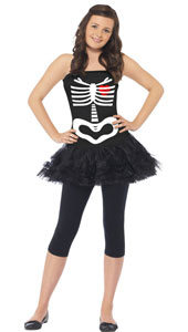Skeleton Tutu Costume, includes dress with print. LEGGINGS NOT INCLUDED.