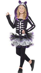 Skelly Cat Costume, includes dress, shrug with hood and collar.