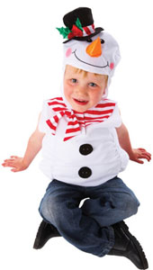 Snowman Child Costume, includes tabard with hooded detail.