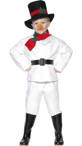 Snowman Costume, includes Top, Trousers, Hat, Scarf, Belt and Carrot Nose.