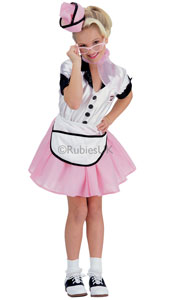 Are you ready to order? Open your own Diner and serve up some classic American fare, dressed up in this marshmallow pink and white waitress dress. Sodas and colas, hash browns, waffles and muffins are on the menu! Soda Pop Girl Costume, includes ca