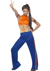 Sporty Power Costume, includes top with fake muscles and trousers. WIG NOT INCLUDED - SOLD SEPARATELY.