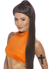 Sporty Power Wig. Brown, ponytail.