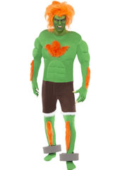 Streetfighter IV Blanka Costume, includes jacket, trousers, gloves and anklets. WIG NOT INCLUDED - SOLD SEPARATELY.