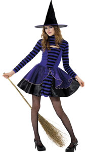 Teen Stripe Dark Fairy Costume, includes purple and black dress and shrug.
