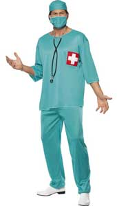 Surgeon Costume, includes tunic, trousers, cap and mask. STETHESCOPE SOLD SEPARATELY