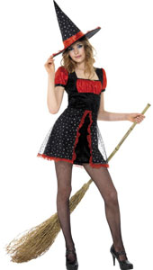 Teen Star Witch Costume, includes dress and hat.