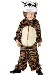 Child Plush Velour Tiger Costume with Hood