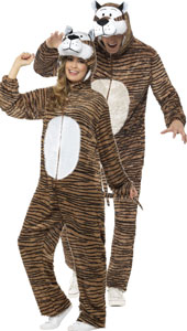 Adult Tiger Costume, includes jumpsuit with hood.