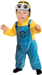 Despicable Me Toddler Dave Minion Costume, includes jumpsuit and headpiece.