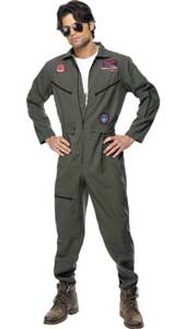 Top Gun Costume, includes green jumpsuit, name tags and glasses.