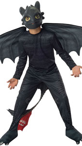 How to train your dragon Toothless Costume. Make up one half of How to Train Your Dragon's fearless double act, Toothless and Hiccup Your little Night Fury Dragon has a spectacular wingspan and tail, as well as a life-like, scaly body and mask.