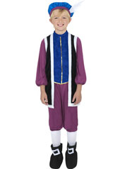Tudor Boy Costume, includes top, trousers and hat.