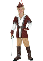 Robin Hood Costume, includes hat, shirt, pants, belt and boot tops.