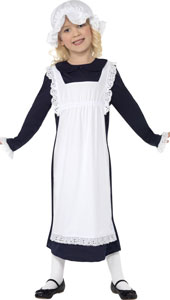 Victorian Poor Girl Costume, includes dress, apron and hat.