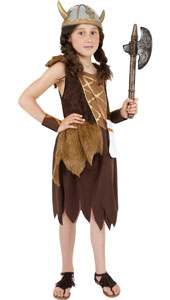 Viking Girl Costume, includes dress and wristbands. HELMET NOT INCLUDED - SOLD SEPARATELY.