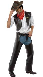 Village People Cowboy Costume, includes vest, chaps, sheriff badge and bandanna. HAT NOT INCLUDED. SOLD SEPARATELY.