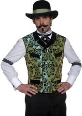 Authentic Western Gambler Costume, includes top with faux shirt, dicky bow and sleeve garters. HAT NOT INCLUDED - SOLD SEPARATELY.