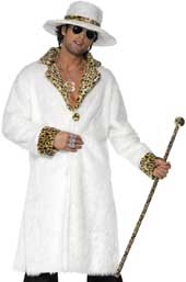 White Fur Pimp Costume, includes white and leopardskin faux fur coat, hat and trousers.