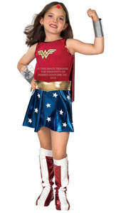 Wonderwoman Costume, includes dress with attached cape, belt, boot tops, bracelets and headpiece.
