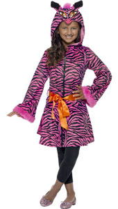 Zebra Sass Costume, includes jacket with animal hood with fur and belt.