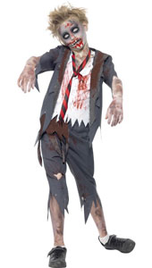 Zombie Boy Costume, includes trousers, jacket with mock shirt and tie.