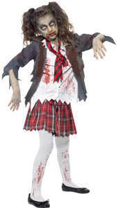 Zombie Girl Costume, includes tartan skirt, jacket, mock shirt and tie.