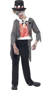 Zombie Groom Costume, includes jacket, printed mock shirt, trousers and hat.