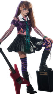 Zombets with attitude! Inspired by the Goth look their Mums once loved, this top, printed shirt and shimmering skirt give you a flying start which you can accessorize and personalize to be as wicked as you like! Zombie Punk Rocker Costume, includes t