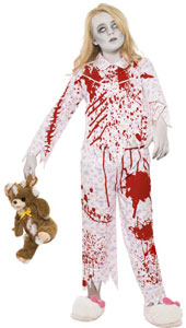 Zombie Pyjama Girl Costume, includes top and trousers.