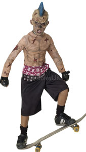 Ollies, nollies, nosegrinds and heel flips will never be the same. Clear the skate park and rinse out the half-pipe with this radical look of one who has ground his axles over the edge once too often. Zombie Skate Punk Costume, includes 3/4 mask, stu