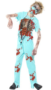 Zombie Surgeon Costume, includes bloodied trousers, printed top, mask and stethescope.