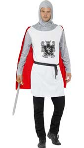 Knight Costume includes tunic top with attached cape, belt and hood.