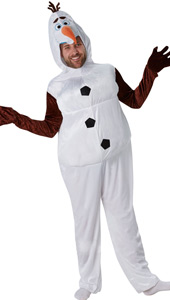 Adult Disneys Frozen Olaf Costume includes jumpsuit with attached headpiece.