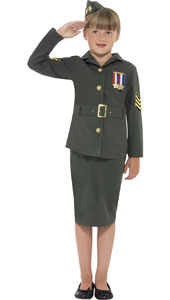 WW2 Army Girl Costume, Khaki Green, with Jacket, Skirt, Attached Belt and Hat