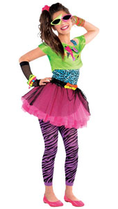 Totally Awesome 80s Costume features a dress made of a hot pink tulle skirt, electric blue leopard print bodice and lime green over-shirt with a fun graphic print.