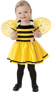 Baby Buzzy Bee Little Stinger Costume features an adorable black and yellow striped dress with a full yellow skirt and daisy flower appliques. Detachable swirled yellow wings are  included!