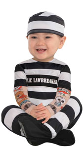 This baby prisoner costume features a black and white striped jumpsuit with Lil Lawbreaker across the chest and tattoo sleeves covered with bad-boy tattoo prints. Baby's outfit is completed with the matching striped hat and black booties.