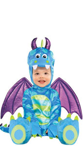 Baby Deluxe Little Puff Dragon Costume includes jumpsuit, detachable wings and hood