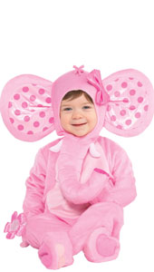 Elephant Sweetie Costume includes jumpsuit, hood, booties and rattle