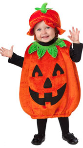 Baby Pumpkin Patch Cutie Pumpkin Costume features a plush orange pumpkin sack with jack-o-lantern face and green leaf collar, and a matching cap with plush green stem.