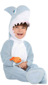 Baby Shark Attack Costume includes jumpsuit, hood and booties and wrist rattle.