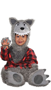 Baby Wolf Costume includes jumpsuit, hood and booties