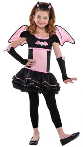 Children Bat to the Bone Costume includes:  Bat ear headband Detachable wings Dress Glovelettes Leggings